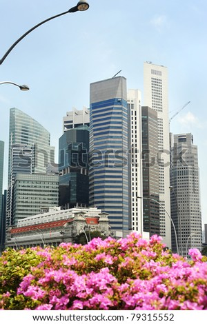 Skyline of Singapore in the sunshine day