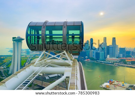 Skyline of Singapore, Singapore Flyer in the foreground