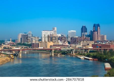 Skyline of St, Paul in Minnesota, USA - stock photo