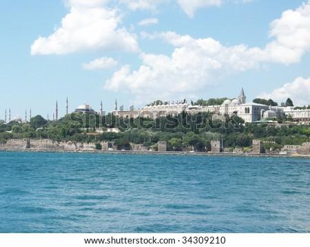 skyline of sultanahmet in istanbul, turkey - stock photo