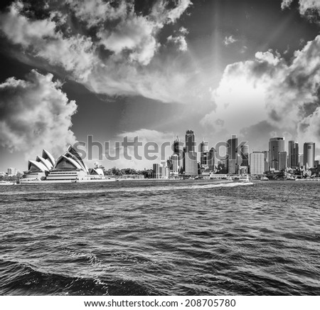 Skyline of Sydney from the sea. - stock photo