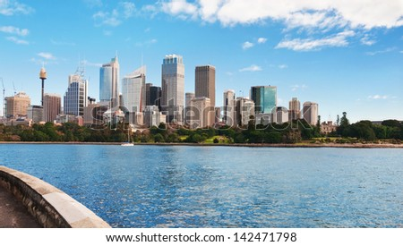 Skyline of Sydney with city central business district.Sydney harbour - stock photo