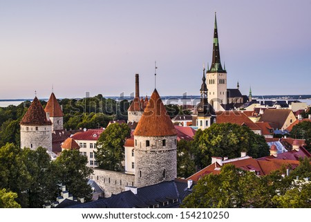 Skyline of Tallinn, Estonia at dusk.