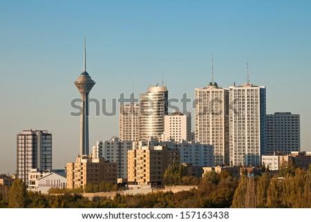 Skyline of Tehran shot in the morning light. - stock photo