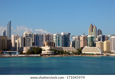 Skyline of the Abu Dhabi Tourist Club area. United Arab Emirates