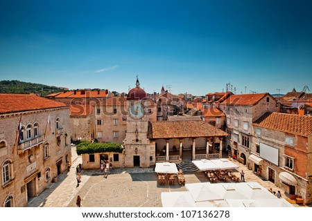 Skyline of the ancient city of Trogir in Croatia - stock photo