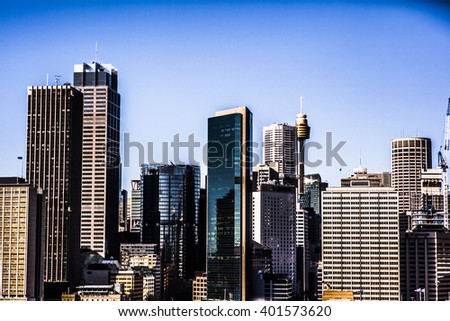 Skyline of the business district in Sydney, Australia - stock photo