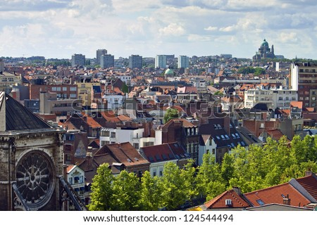 Skyline of the city of Brussels, Belgium - stock photo