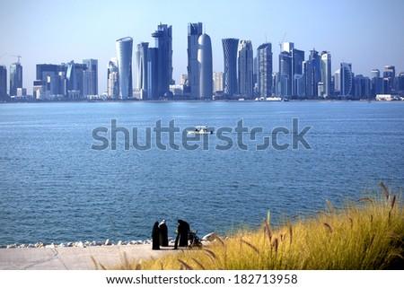 Skyline of the Doha - stock photo