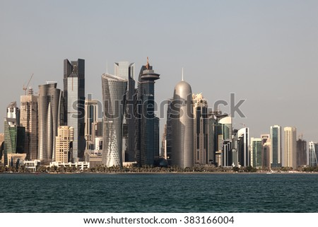 Skyline of the Doha downtown Al Dafna. Qatar, Middle East