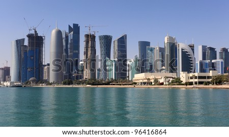 Skyline of the new Doha downttown district Al Dafna, Qatar, Middle East - stock photo