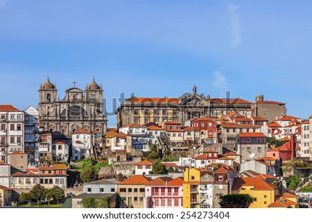 Skyline of the old part of the city of Porto with a view over the Sao Bento da Vitoria Monastery on the left, and the Centro Portugues de Fotografia on the right. - stock photo