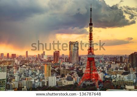 Skyline of Tokyo, Japan at Tokyo Tower. - stock photo