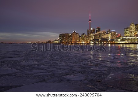 Skyline of Toronto from Cherry Street.  Toronto, Ontario, Canada.  - stock photo