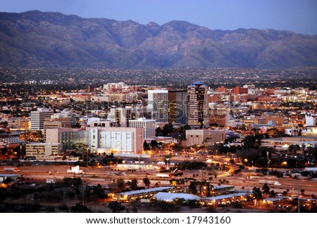 Skyline of Tucson, Arizona, after sunset, from Sentinel Peak Park - stock photo