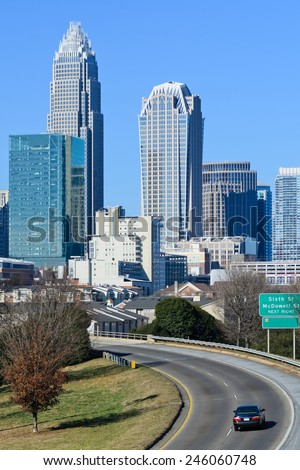 Skyline of Uptown Charlotte, NC - stock photo