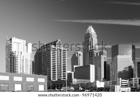 skyline of Uptown, the Financial District of Charlotte, North Carolina. - stock photo