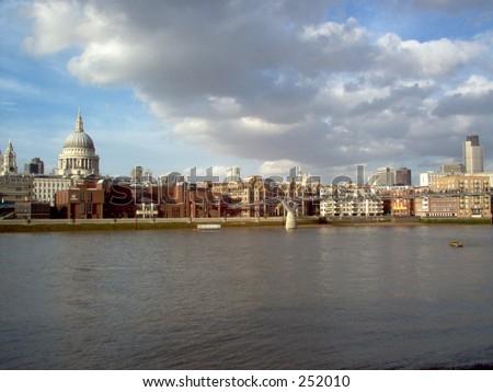 Skyline, River Thames, London England - stock photo