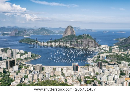 Skyline scenic overlook of Rio de Janeiro city with Sugarloaf Mountain Botafogo and Guanabara Bay