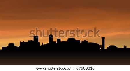 Skyline silhouette of the city of New Orleans, USA.