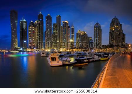 Skyline sunset picture shot at Dubai marina - stock photo