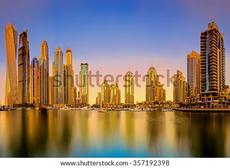 Skyline sunset picture shot at Dubai marina