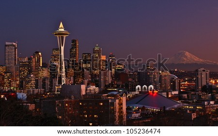 Skyline Sunset.  Seattle, WA - stock photo