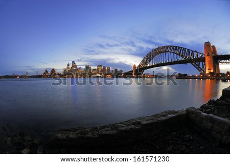 Skyline Sydney, Sydney Opera, Harbour Bridge, blue hour - stock photo