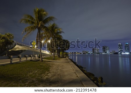 Skyline view of downtown Miami and Biscayne Bay between coconut trees - stock photo