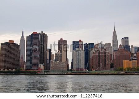 skyline view of eastern Manhattan, New York - stock photo