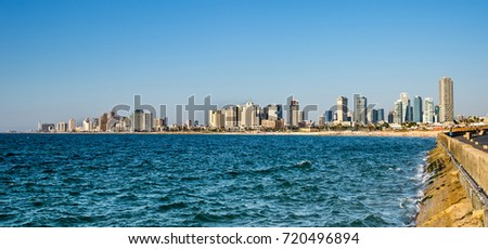 Skyline view of Tel Aviv beach coast and Mediterranean sea.