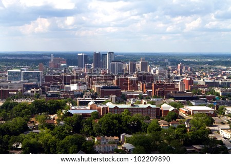 Skyline view of the city of Birmingham, Alabama looking toward the north. - stock photo