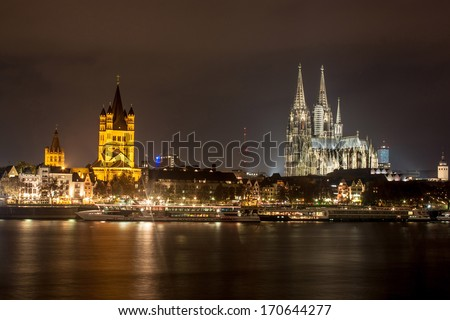 Skyline with famous cathedral in Cologne, Germany
