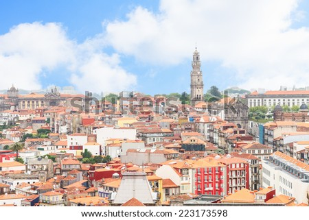 skyline with red roofs of old town, Porto, Portugal - stock photo