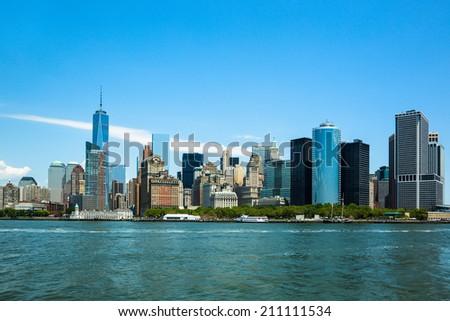 Skylines of lower manhattan in New York City - stock photo