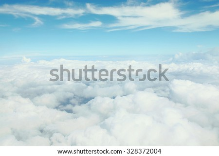 skyscape, couds and sky, view on plane - stock photo