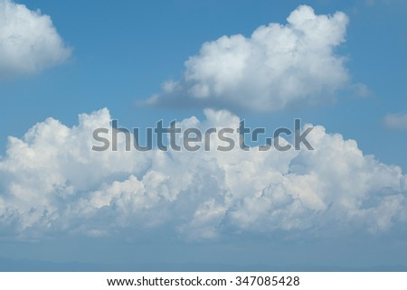 Skyscape, White couds and Blue sky - stock photo