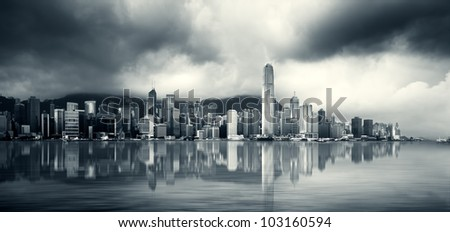 Skyscapers on Victoria Harbour, Hong Kong - stock photo