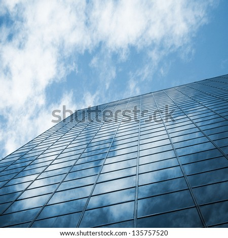 skyscraper against sky ; building glass background
