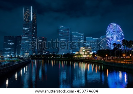 Skyscraper at Minatomirai, Yokohama in the twilight
