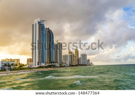 skyscraper at Sunny Isles Beach in Miami, Florida - stock photo