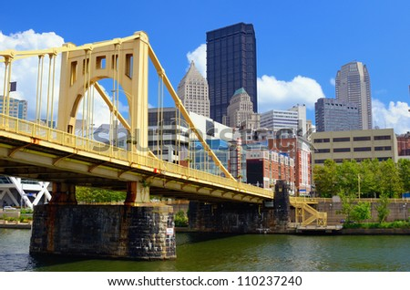 Skyscraper at the waterfront in downtown Pittsburgh, Pennsylvania, USA. - stock photo