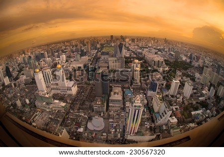 Skyscraper Bangkok downtown top View from top of Thailand,Fish eye view. - stock photo