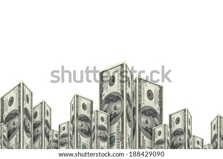 Skyscraper buildings made from one hundred dollar money banknotes, isolated on white background. - stock photo