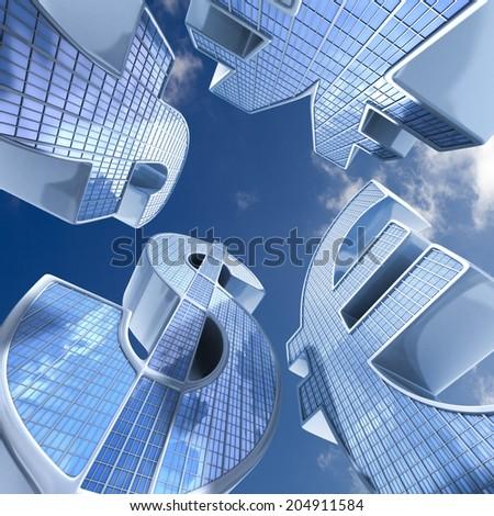 skyscraper currency, euro,dollar,pound,yena. conceptual finance illustration - stock photo
