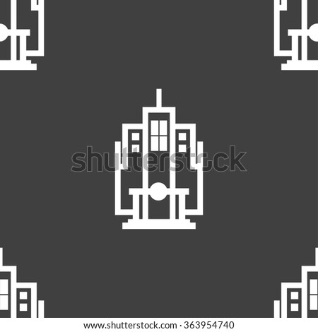 skyscraper icon sign. Seamless pattern on a gray background. illustration - stock photo