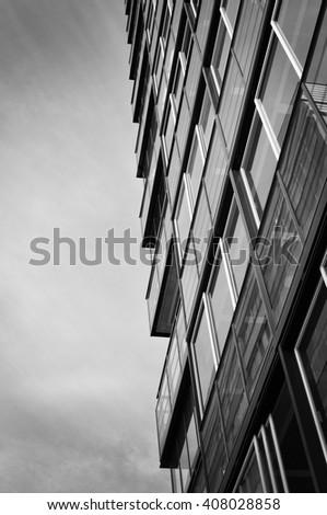 Skyscraper in black and white high contrast. - stock photo