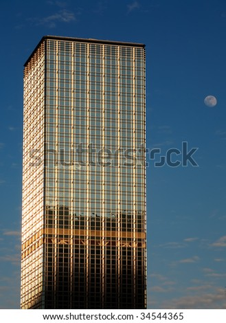 Skyscraper in Hong Kong and moon