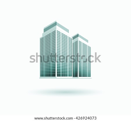 Skyscraper logo building icon. Black building and isolated skyscraper, tower and office city architecture, house business building logo, apartment office  illustration