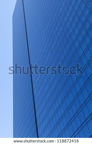 skyscraper of power (blue reflective glass) - stock photo